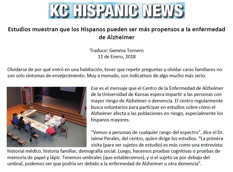 Global Alzheimer's Platform in KC Hispanic News (Spanish)
