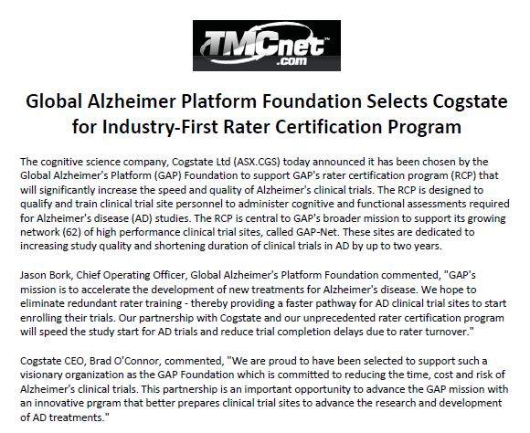 Global Alzheimer's Platform coverage in technology.net