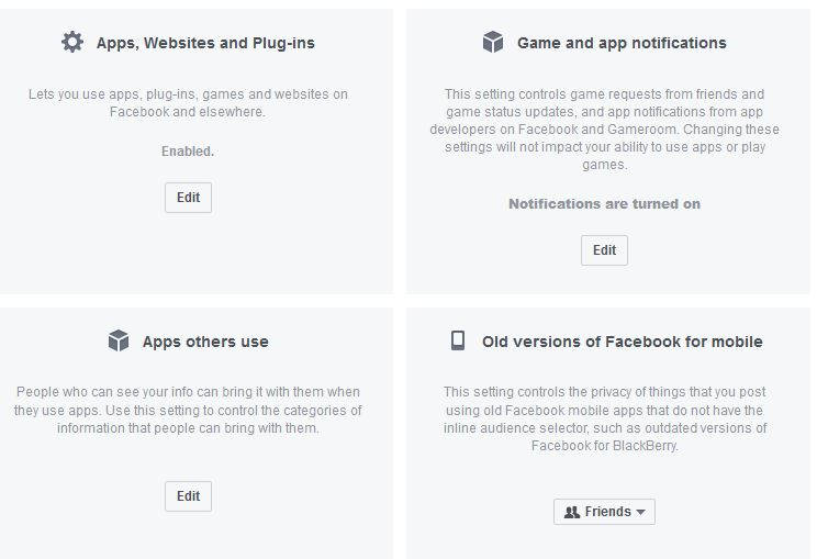 The app management section in Facebook settings