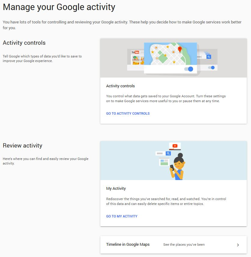 The activity management page on a Google account