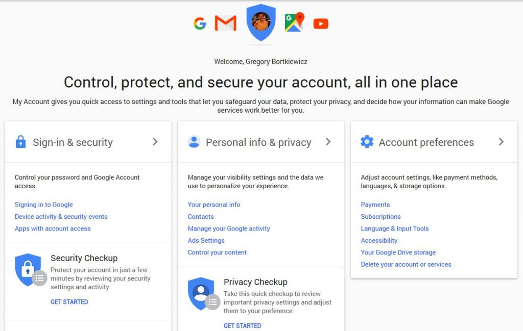 The main dashboard on the Google account settings page