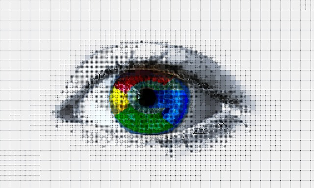The Google logo in someone's eye