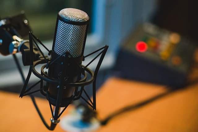 A microphone in a broadcasting studio