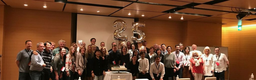 Members of the Public Relations Global Network celebrate its 25th anniversary in Kyoto.