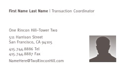 One Rincon Hill Business Card
