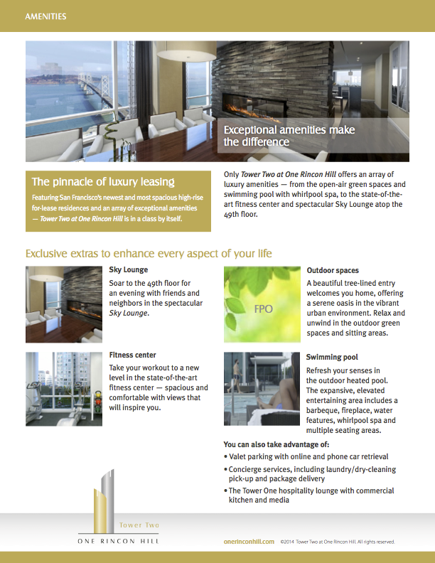 One Rincon Hill Amenities Flyer