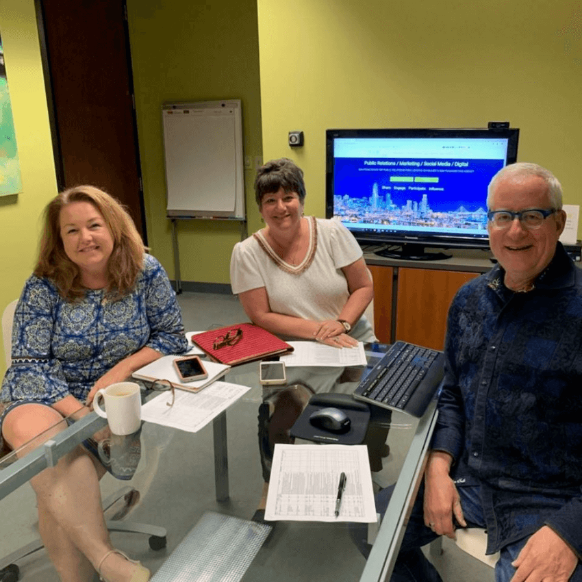 Landis PR Team at a conference table
