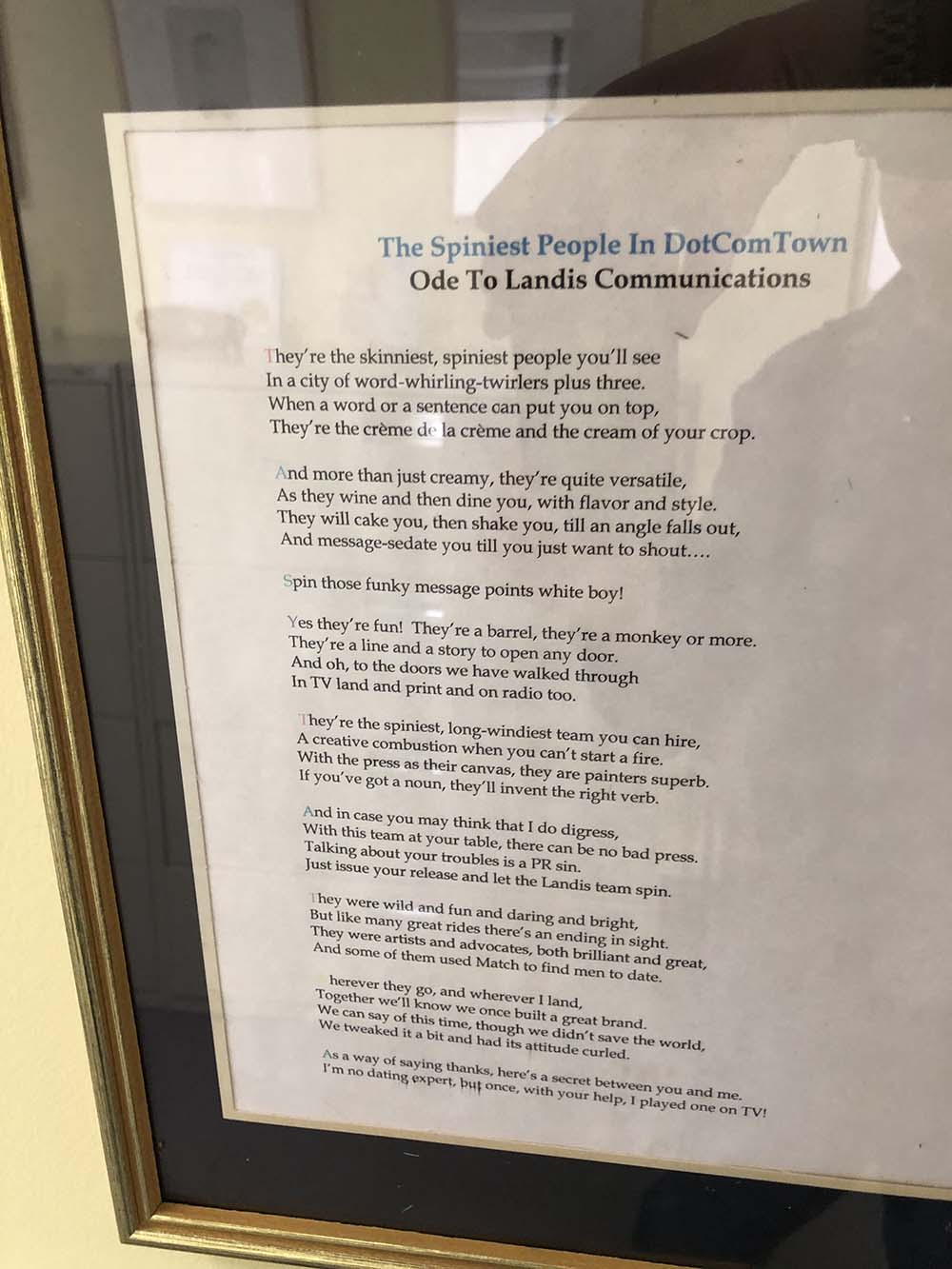 Printed poem in frame