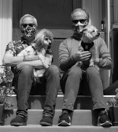 Sean and David with their dogs